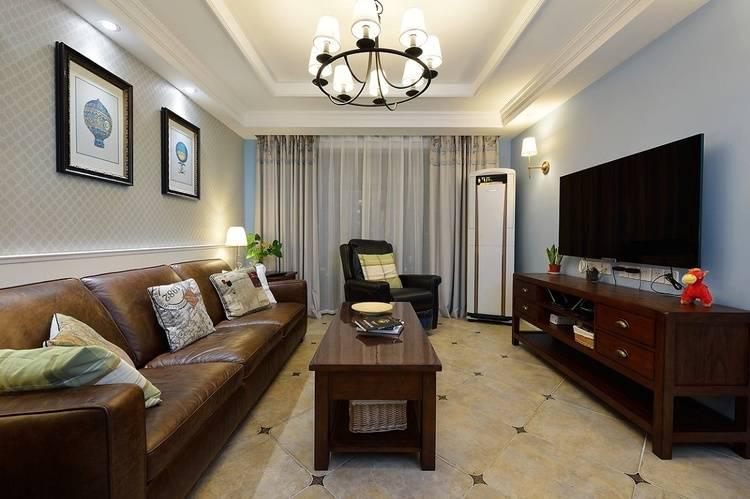 90平米简约美式风格客厅案例图